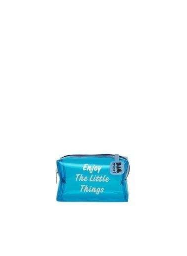 Bagmori  Kadın Baskılı Mini Makyaj Çantası M000006240 Mavi